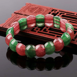 草莓晶红绿半圆手链