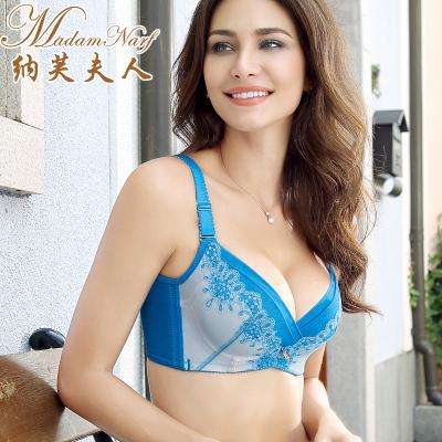 纳芙夫人养护内衣夏季薄款大胸聚拢调整型蕾丝刺绣性感文胸nx065