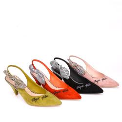 东琪 新品条纹格仔布蝴蝶结尖头女鞋细高跟 18162-2