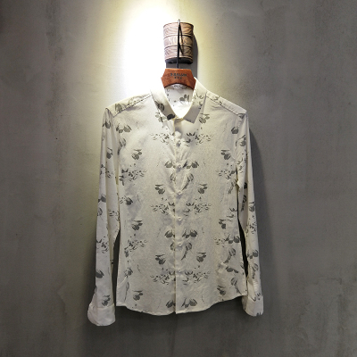 春夏季衬衫男士长袖韩版修身休闲衬衣商务1887#