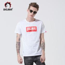 bagjmar  夏季短袖t恤男装圆领潮流修身半袖上衣纯棉打底体恤服装 B3-88014