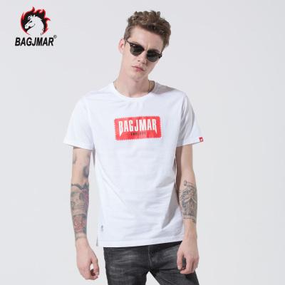bagjmar夏季短袖t恤男装圆领潮流修身半袖上衣纯棉打底体恤服装 B3-88014