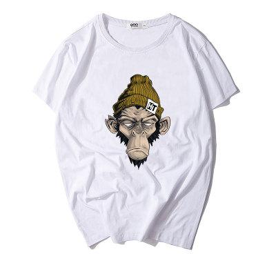 情侣装夏装白色T恤女短袖半袖新款2018潮韩版宽松潮牌白色上衣猴头S1803