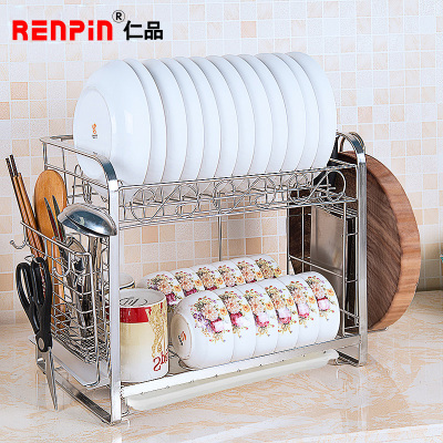 仁品 双层碗碟架 不锈钢304厨房置物架落地 沥水碗架放碗架碗柜收纳架RP-YL16