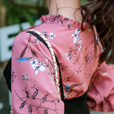 恩黛 2017秋季新款女装韩版长袖雪纺连衣裙 两件套吊带裙 F6952