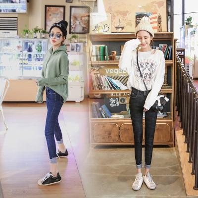 杰妮 2018年新品 时尚百搭卷边修身九分裤牛仔裤弹力显瘦小脚裤 988