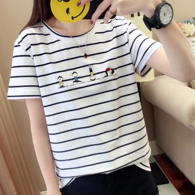 布桂坊2018新款夏装上衣条纹短袖t恤女士韩版学生夏季半袖衣628