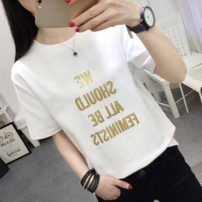 布桂坊2018夏季韩版学生百个性半袖V领t恤女韩范宽松大码短袖上衣624