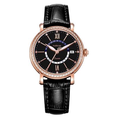 衡宝罗女表时尚潮流镶钻表壳经典石英机罗马刻度防水手表