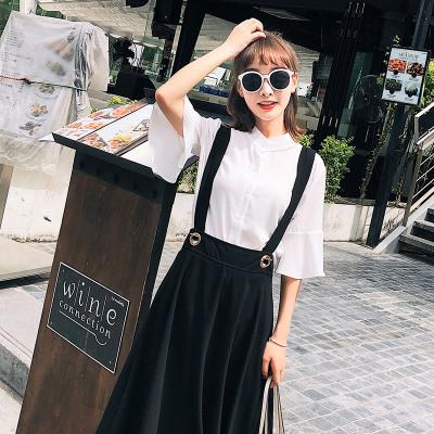 恩黛 韩版女装批发2018夏装新款短袖衬衫两件套背带裙 F6286