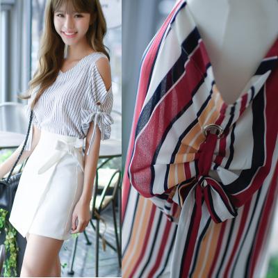 恩黛 2018夏季韩版新款露肩上衣 雪纺时尚条纹宽松小香风T恤F6889