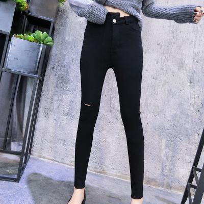 大考贸易 2018新款高腰显瘦外穿小脚铅笔裤黑色裤子女 618#