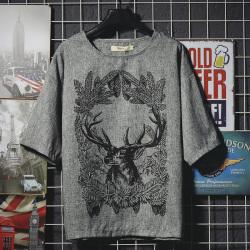 昊社 2018年新品 时尚休闲复古短袖T恤