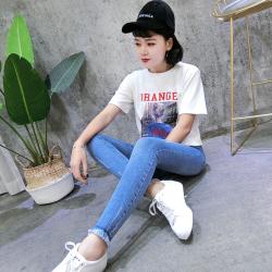 大考贸易 2018春季新款韩版修身显瘦蓝色牛仔铅笔裤长裤 662#