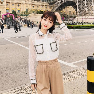 恩黛 2018夏装新款长袖镂空衬衣甜美两件套蕾丝衫F6303