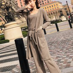 恩黛 2018夏新款女装长袖开衫针织阔腿裤三件套装F6306