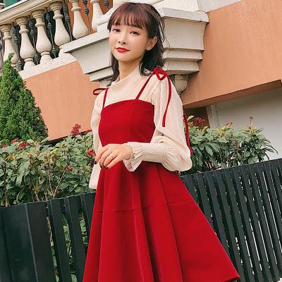 恩黛 2018夏装新品针织打底衫丝绒吊带连衣裙两件套F6308