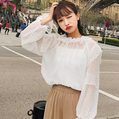 恩黛 2018夏季女装荷叶边长袖蕾丝衫两件套F6309