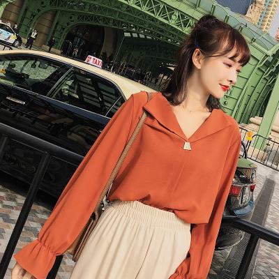 恩黛 2018夏季新款女长袖V领上衣纯色宽松衬衫女F6325