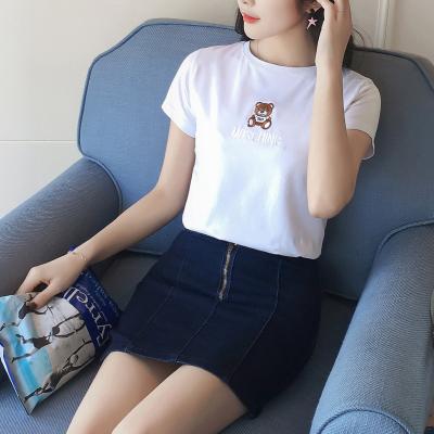 民鸿 2018夏装新款t恤女短袖圆领修身半袖上衣百搭白色打底衫