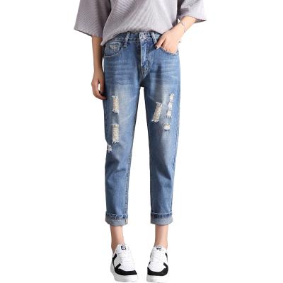 依赖 2018新款韩版时尚九分破洞牛仔裤 1688#