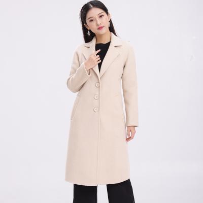 孙爱兰 2018春装新款韩版复古双面羊绒中长款羊毛呢外套风衣呢子 0004-AB