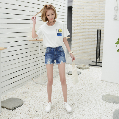 依赖 2018新款韩版潮流时尚抓破牛仔短裤 285#
