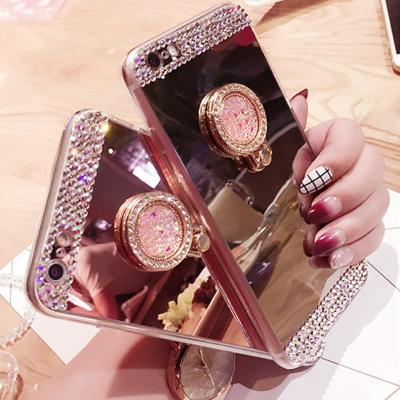千隆 NOTE8镶钻电镀镜面R9指环支架手机壳iPhoneX 7plus苹果8 6S三星S8