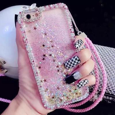 千隆 奢华镶钻爪链iPhoneX 7plus动态液体流沙亮片爱心苹果8 6S手机壳