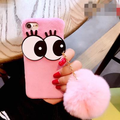 千隆 大眼睛獭兔毛球iPhoneX 7手机壳苹果8 6/6s plus毛绒硬壳保护套潮