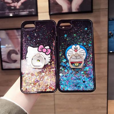 千隆 韩国R11卡通支架黑色爱心亮片流沙X9手机壳iPhoneX 7plus苹果8 6S