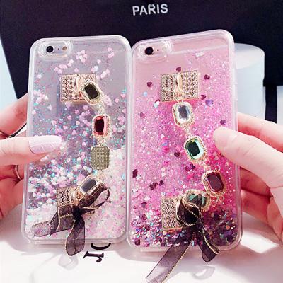 千隆 奢华时尚宝石手链iPhoneX 7plus动态流沙亮片闪粉苹果8 6S手机