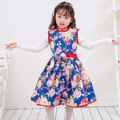 兔力丝 2018新款韩版蓝色红花无袖连衣裙 RR018