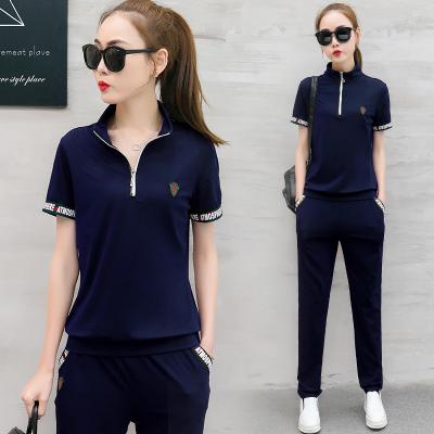 2018夏装新款时尚短袖休闲运动服套装女长裤韩版气质显瘦两件套潮 347