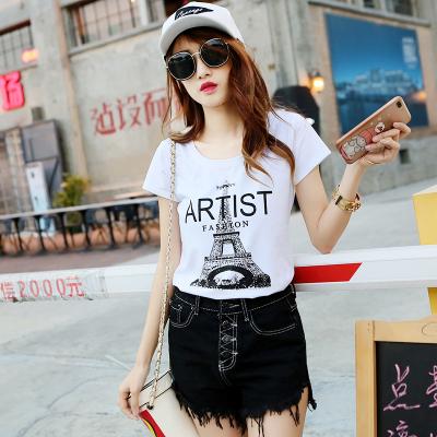 飞晴服饰2018年夏季新款短袖t恤女韩版新款埃菲尔铁塔学生修身打底衫上衣 1801