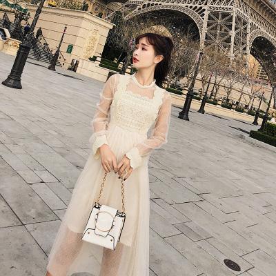 恩黛 2018年春季女装蕾丝拼接网纱连衣裙中长款打底裙F6307