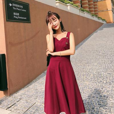 恩黛 2018夏季女装新款气质吊带连衣裙学生中长款A字裙F6315