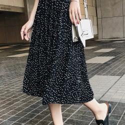 恩黛 218女装韩版高腰中长款圆点松紧腰半身裙a字裙F6347