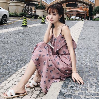 恩黛 2018夏季女装吊带V领荷叶边圆点气质雪纺连衣裙F6343