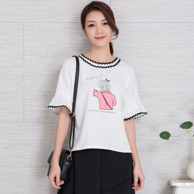 【秒杀款】安琦悦  夏装时尚修身显瘦波浪纹花边印花圆领喇叭袖T恤851-5