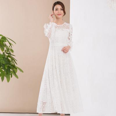 安琦悦  2018新款修身纯色花边蕾丝裙6001