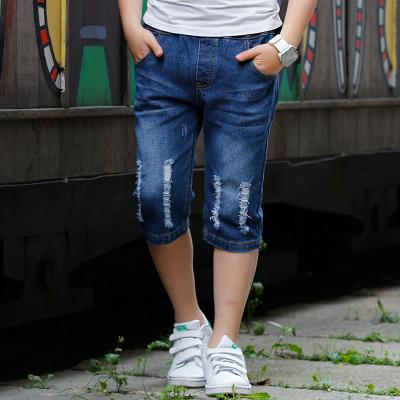 波衣比 男童牛仔中裤2018夏新款韩版男生休闲裤修身破洞中大童七分裤 1731