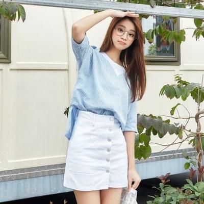 女人志 2018夏季新款小清新学院风假两件短袖衬衫103#