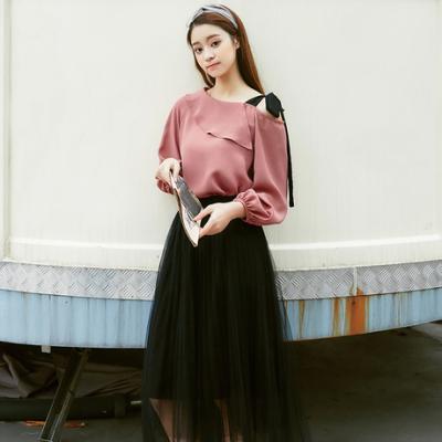 女人志 2018春季新款韩版甜美露肩系带雪纺小清新衬衫101