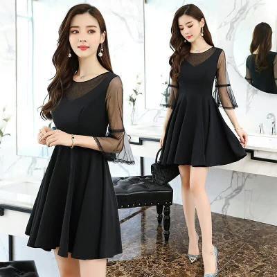布桂坊 2018夏季新品V领显瘦连衣裙9629