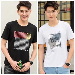达昇 【买一送一 两件装】2018新款时尚简约潮流型男潮男短袖T恤