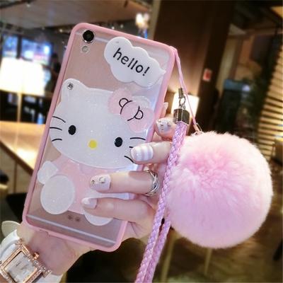 千隆 韩日风格时尚卡通KT猫化妆镜子iPhoneX 7毛球苹果6S亚克力手机壳