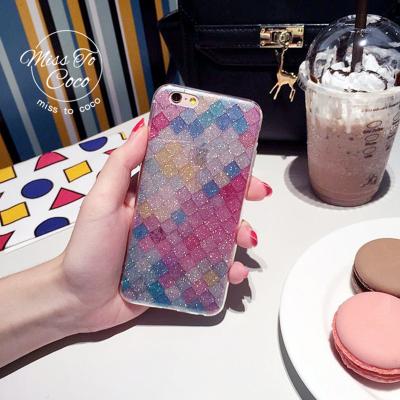 千隆 时尚潮流闪粉鱼鳞硅胶R11手机壳iPhone7plus苹果6S防摔保护软套X9