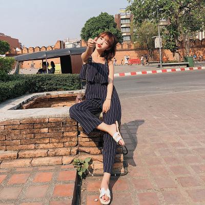 恩黛 2018女装新款韩版宽松条纹阔腿裤连体吊带裙女F6383
