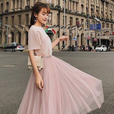 恩黛 2018夏季新款短袖T恤+半身网纱连衣裙女两件套装F6402